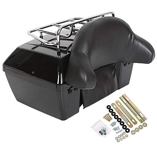 Black Motorcycle Trunk Tour Pack Luggage Compatible with Harley Honda Yamaha Suzuki Cruiser Motorcycle Luggage Tour Trunk Tail Box with Top Rack Backrest