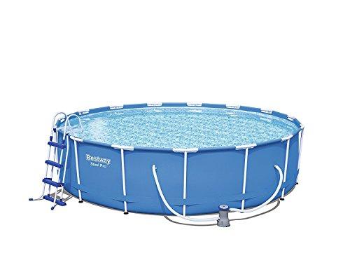 Bestway Steel Pro Frame Pool Komplettset rund, mit Kartuschenfilterpumpe, Leiter, Boden- und Abdeckplane, 457x107 cm, blau