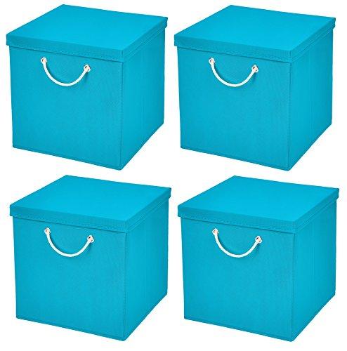 Stick&Shine 4X Aufbewahrungs Korb Türkis Faltbox 30 x 30 x 30 cm Regalkorb faltbar mit Kordel und mit Deckel