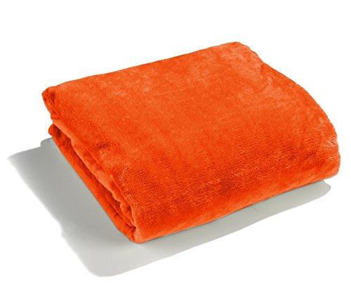 heimtexland große super weiche Kuscheldecke XL HxB 150x200 cm in orange Microfaser Flanelldecke kuschelig warm - fusselfrei - Decke in TOP QUALITÄT Typ176