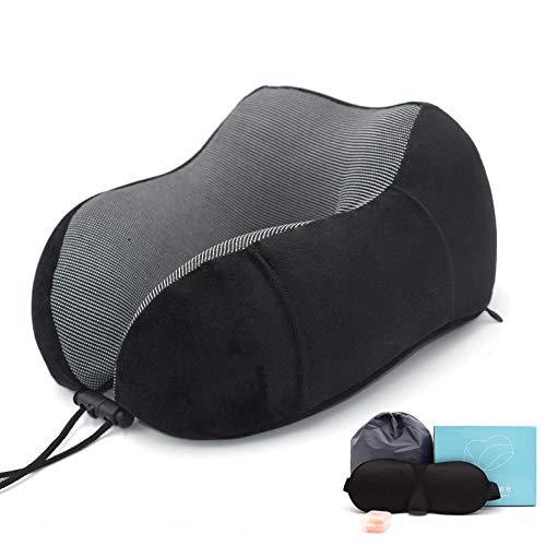 Almohada de Viaje, Almohada en Forma de U Espuma de Memoria Almohada de Viaje de Tela magnética Almohada de Cuello de Rebote Lento Almohada Multifuncional-Negro