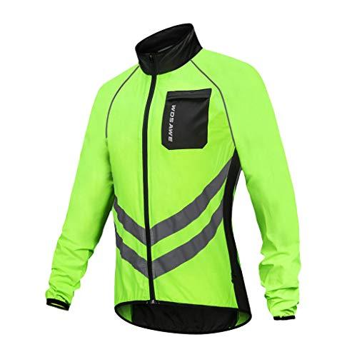 Toygogo Windjacke Fahrrad Herren Fahrradjacke Radjacke Freizeitjacke Windjacke Reflektierend Warn-Jacke - Grün, XL