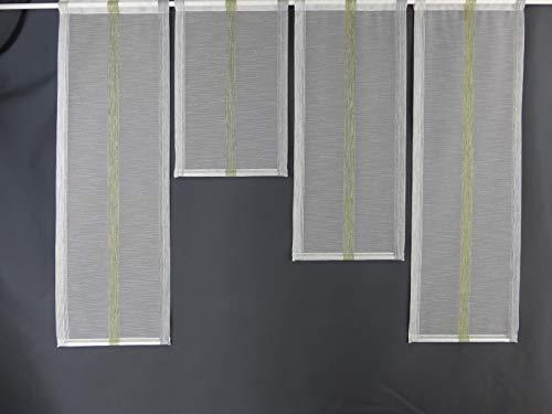 Gardinen Röttger Miniflächen-Set grau grün längs gestreift Scheibengardine