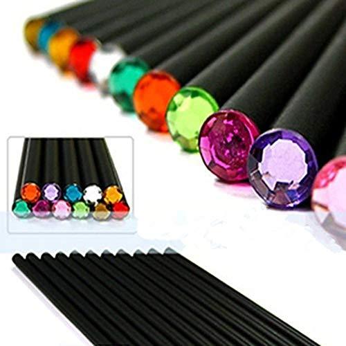 Lápices de dibujo, Negro Wood-Cased, Beautiful Shining Crystal Consejos, Alliswell # 2 HB (12 Count) - Idea de Regalo de Cumpleaños / Back To School Essentials