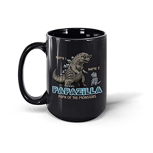 Taza de café de cerámica personalizada del Papa of Monster Funny Day del Padre, personalizado hasta 5 niños, taza de té (negro, 15 onzas)