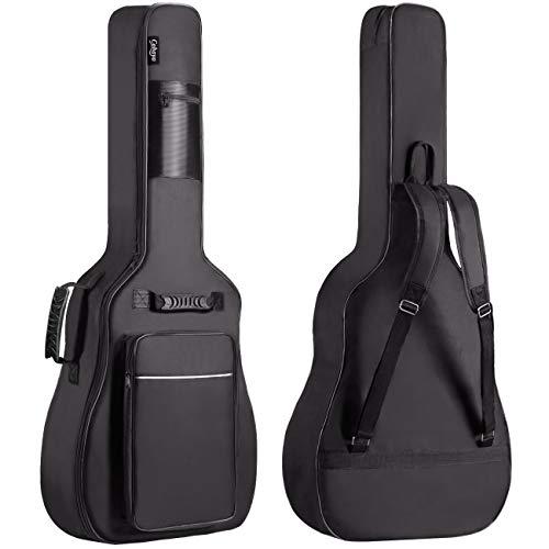 """CAHAYA Funda de Guitarra Universal [Nuevo Versión Mejorada], Acolchada con 2 bolsillos para Guitarra Acústica, Clásica y Eléctrica con raya de color blanco (Tamaño de guitarra 40/41/42"""")"""