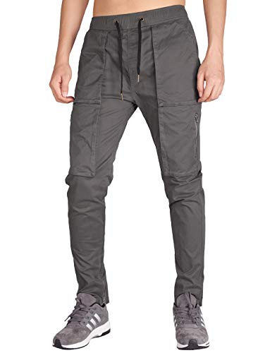 ITALY MORN Pantalones Cargo Trekking Hombre Gris Harem Tapered Fit S Gris Oscuro
