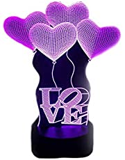 3D Illusion Novelty LED Lamps, Color Changing Touch Table Desk Light for Gifts, Hearts