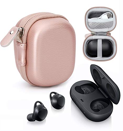 CaseSack Wireless Earbuds case for Samsung Gear IconX (2018 Edition), Galaxy Buds, Galaxy Buds 2019, Galaxy Buds+ Plus, Galaxy Buds+ Plus 2020, mesh Accessory Pocket, Elastic Secure Strap (Rose Gold)