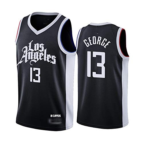 Jerseys para Hombres, NBA Los Angeles Clippers # 13 Paul George - Classic Basketball Sportswear Flojo Comfort Chalecos Tops Sin Mangas Camisetas Uniformes,Negro,M(170~175CM)