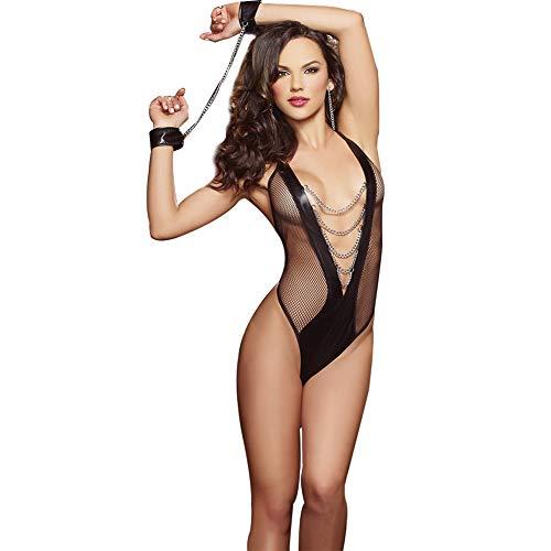 Bbl345dLlo Lingerie sexy donna hot per sesso, Bodystocking sexy delle donne del vestito attraverso la tuta di Babydoll della biancheria intima della catena Black M