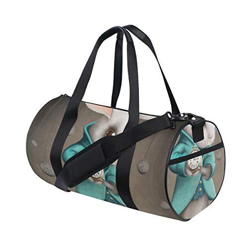 HARXISEl conejo blanco de la elegancia indica el reloj,Bolsa de equipaje de...