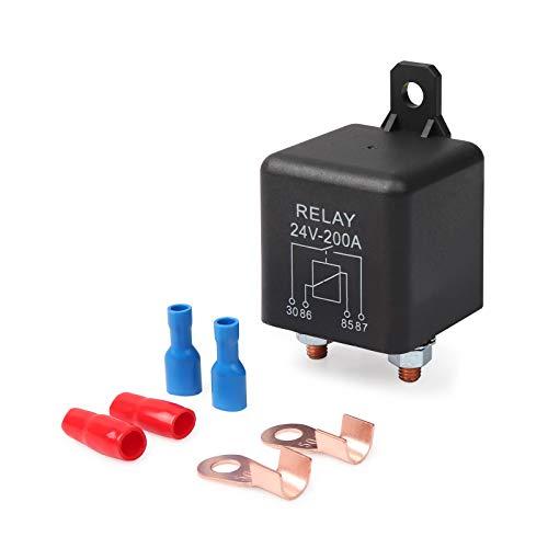 Ehdis Relés Coche 24V 200A 3 Pin relés Automoción de Arranque para Trabajo Pesado de Carga Dividir ZL180 con 2 + 2 Borne de Contacto Huella - 1 Juego