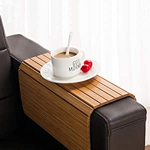 Portable /& Folding Couch Drink Holder Wood Side Table Tray Flexible Kleeger Sofa Arm Tray Table