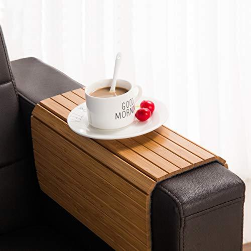 GEHE Sofa Armablage Tisch für Couch Flexibel faltbar Sofa Tablett Couch Arm Tisch Perfekt für Getränke, Snacks Fernbedienung oder Telefon Großartiges Armtablett für Couch Armlehne Mahagoni