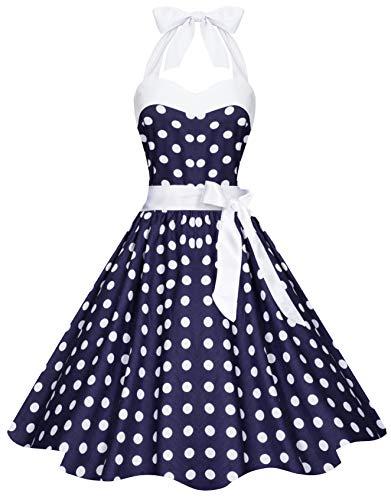 Zarlena Damen 50er Retro Rockabilly Pola Dots Petticoat Neckholder Kleid Navyblau mit weissen Dots Medium 4250647201223k