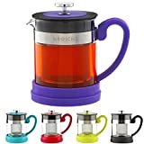 GROSCHE Valencia Personal Sized Tea pot 20 oz. / 600 ml Tea maker, Stainless Steel tea infuser and tea strainer, for loose leaf tea or blooming tea. tea pot with infuser for 1-2 cups of loose tea