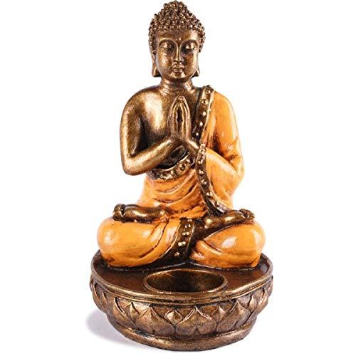 KOH DECO Bougeoir Bouddha en résine - Orange