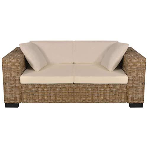 Zora Walter 7-TLG. 2-Sitzer Sofa Set Echtes Rattan Couch Schlafsofa Bettsofa Mit 2 x Sitzkissen,2 x R¨¹ckenkissen,2 x Sofakissen - 2