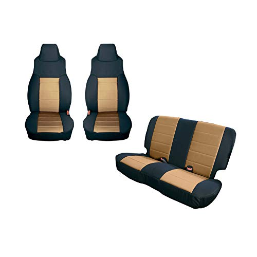 Rugged Ridge 13292.04 Black Seat Cover Kit, Tan 1997-2002 Jeep Wrangler TJ, 2 Pack