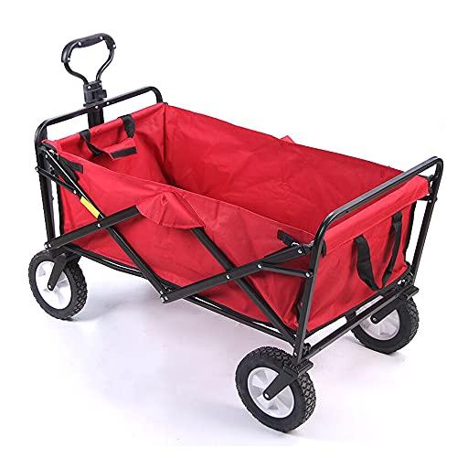 skrskr Outdoor Camping Pull Cart Tragbarer Klappwagen 600D Oxford Cloth Wasserdichter Allrad-Handwagen Multifunktionaler Klappwagen zum Einkaufen Angeln