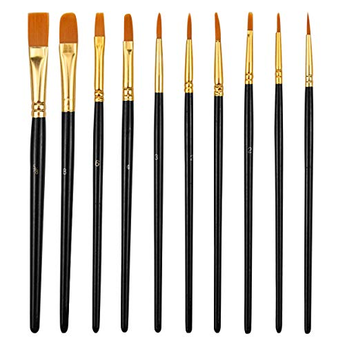 Pinsel Set, 10 Stück Nylon Acrylfarben Pinsel, Hölzernen Griff Pinsel Künstlerpinsel für Aquarell Ölgemälde, Malerei Ölfarben Brush Set für Anfänger, Kinder, Künstler