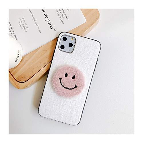 para iPhone 6 7 8 Plus 11 PROMAX Mobile TELÉFONO COMPAJO Femenino XSMAXR Simple SONRENSO Cara Mink PELUMINACIÓN Personalidad Creativa (Color : White, Material : For iphone11promax)