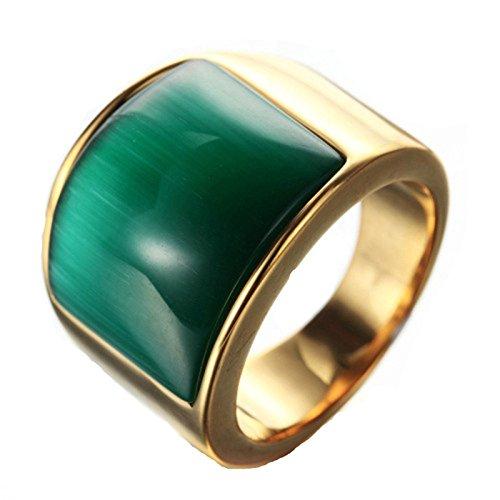 Blisfille Goldring Ring Damen Zeigefinger Gold Bar Punk Opal Rechteck Stein Ringgröße 62 (19.7) Grün Zirkonia Gothic Retro Vintage Valentinstag Ring Für Liebhaber