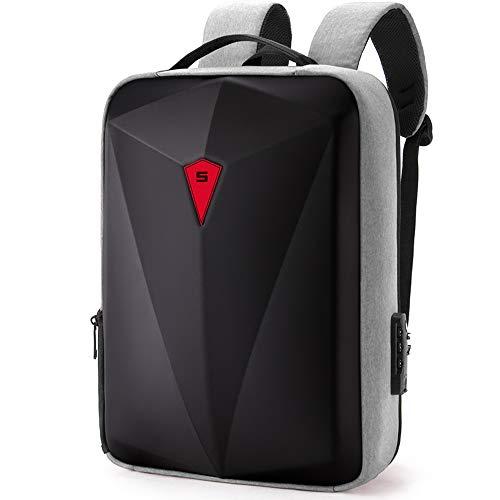 Mochila para ordenador portátil con puerto USB para viajes de negocios y exteriores, multifunción, sostenible, impermeable, unisex, gris (Gris) - jbfqd-004