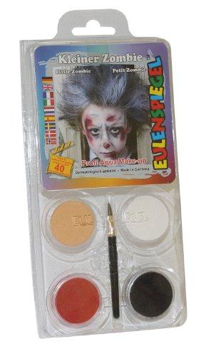 Eulenspiegel 204733 Schminkset kleiner Zombie, Pinsel und Anleitung, 4 Farben
