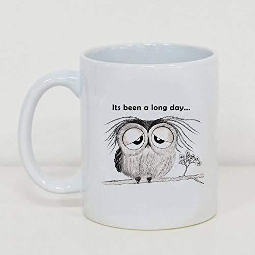 BLINY Funny Gift Coffee Mug 11oz,Sleepy Owl,Best Gift For Love-Tea Mug Glass Cup