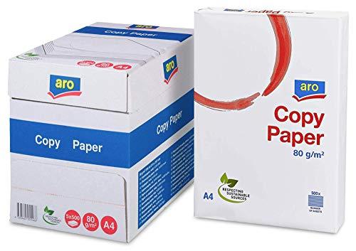 aro Kopierpapier DIN A4 mit 5x500 Blatt - 80g/m2 Blattstärke in hochweiß - Professionelles Druckerpapier für Laserdrucker, Tintenstrahldrucker, Bewerbungen, Rechnungen, Gewerbe, Büro, Home Office