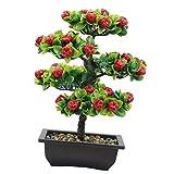 HEALLILY Decoración de Escritorio de Árbol Frutal Artificial Maceta Verde Plantas Flores Ornamentos para Decoración del Hogar Fiesta de Boda