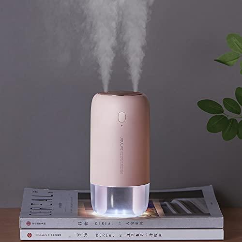 JISULIFE 3600 mAh Cool Mist humidificador de aire, 16.9fl oz mini humidificador portátil para coche, pequeño humidificador personal, apagado automático, 2 puertos de pulverización, 30 dB silencioso para el dormitorio del bebé, escritorio, planta, viaje rosa