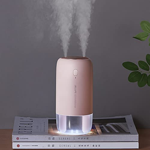 JISULIFE Small Humidifier, 500 ml Portable Travel Humidifier, 3600 mAh Battery Operated Humidifier for Car Desk Home Office, Auto Shut-Off, 2 Spray Ports, Whisper Quiet - Pink