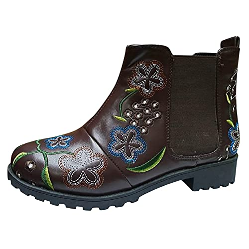 Women Shoes Ladies Short Boots Embroidered Floral Square Heels Pull On Chelsea Boots Round Toe Slip On Shoes Fashion Cowboy Boots Party Work Dress Shoes (Coffee, 7)