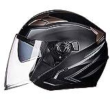 Casco de motocicleta de cara abierta 3/4 antideslumbrante, casco de moto modular frontal abatible, casco de bicicleta Chopper de doble visera, equipo de protección para conductor adulto,Matteblack,XL