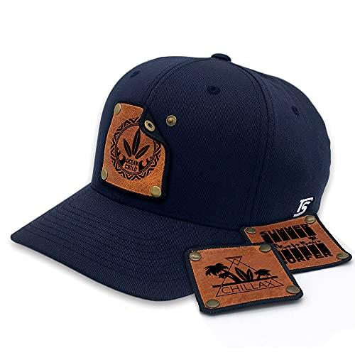 TS Caps Gorra de béisbol Flexfit azul marino con 3 parches de piel intercambiables, diseño Beach Surfer azul marino S/M