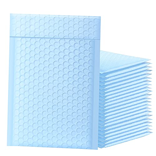 Famagic Bubble Mailers 6x10 Inch 25pcs Padded Envelopes Self Seal Mailing Envelopes Poly Bubble Padded Mailers Matte Shipping Envelopes Packaging for Small Business, Light Blue (Inside Size: 6x9 Inch)