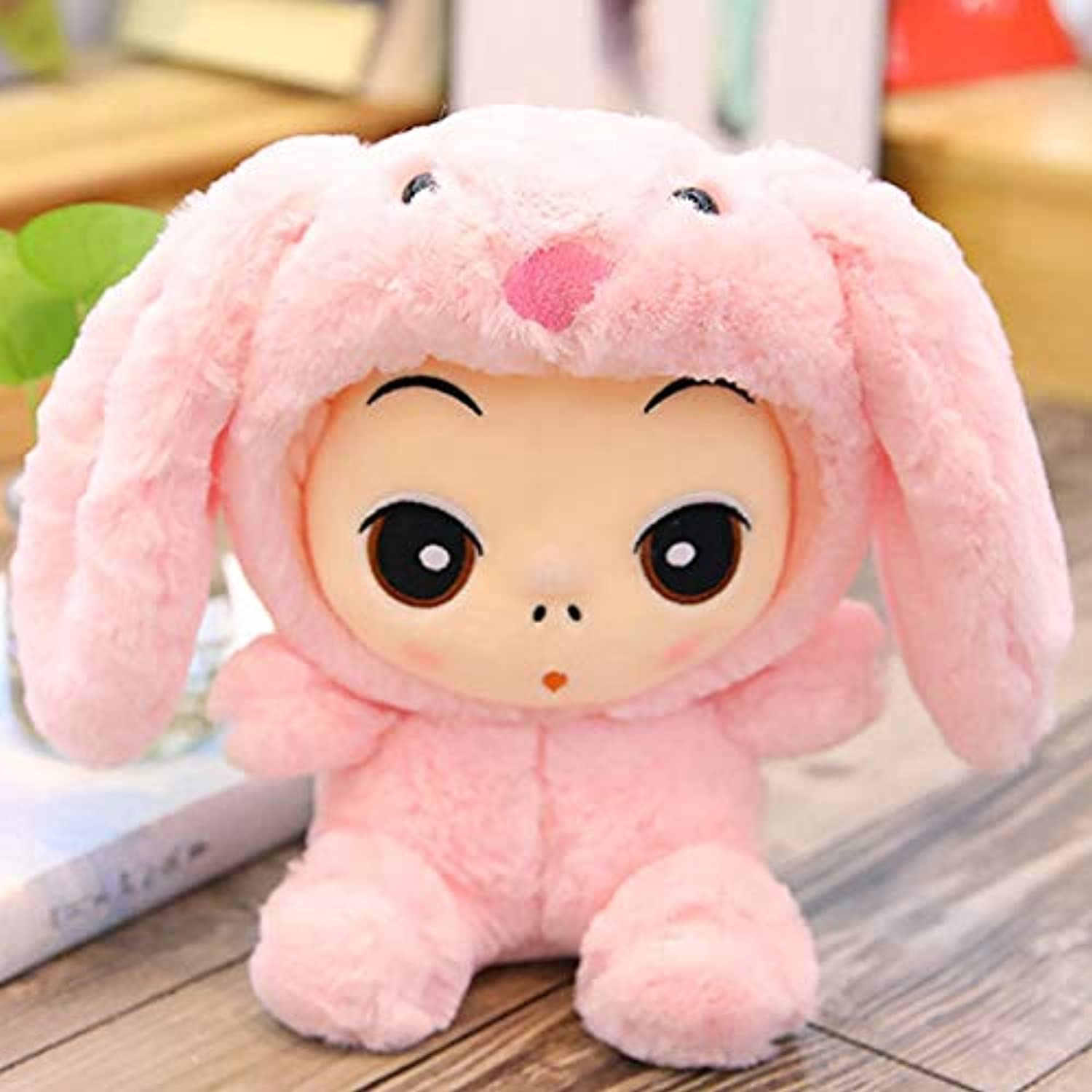 DONGER Cute Variety Doll Doll Toy Creative Transformation Doll Dinosaur Lion, Pink Rabbit Models, 30 Cm