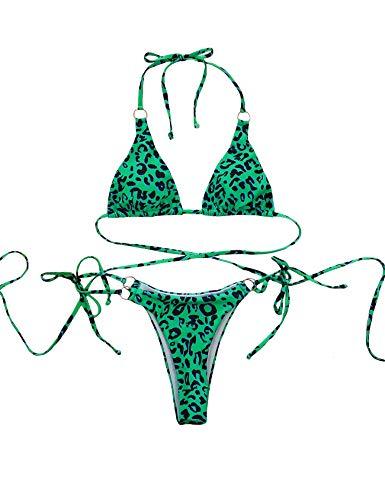 Bestgift Ensemble de 2 pièces sans fil triangulaire pour femme Motif léopard bas Taille sexy - Vert - M