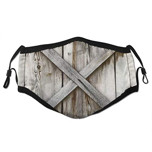 TARTINY Face Cover Door Plank Wooden Wall Old History Barn Abstract Wood Hinges Rustic Shed Balaclava Unisex Reusable Windproof Anti-Dust Mouth Bandanas Outdoor With 2 Filters