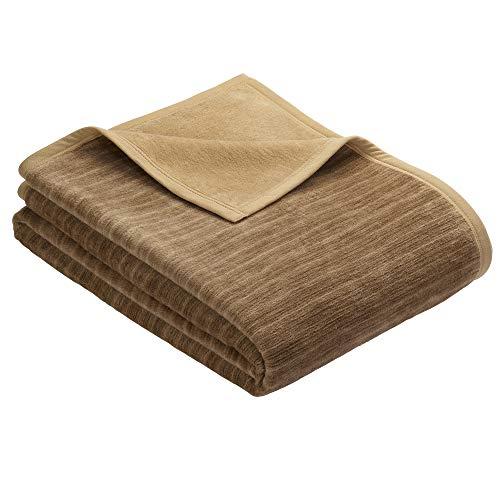 Ibena Fano Kuscheldecke 150x200 cm – Wohndecke braun camel, tolle Wendedecke aus hochwertiger Baumwollmischung, kuschelweich & angenehm warm