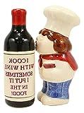 New Italian Drunk Chef Kissing Wine Bottle Ceramic Salt Pepper Shakers Figurine Set AI-0220STAT Unique Home Decor InnaBest