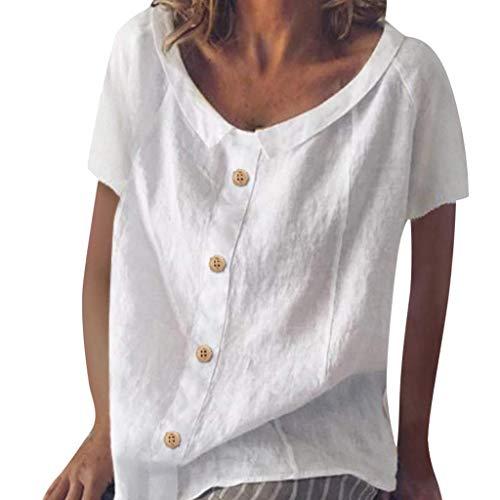 VEMOW Vestido de Mujer Verano Algodón Lino Casual Abotonada decoración Tops Blusa