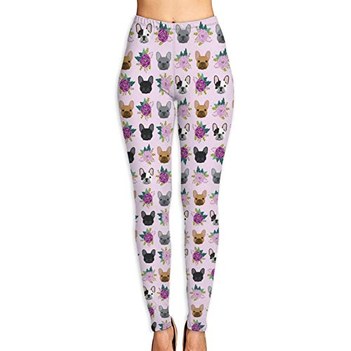 NiYoung Women French Bulldog Frenchie Florals Pink Yoga Pants Cozy Leggings High Waist Tummy Control Workout Casual Pants 4 Way Stretch