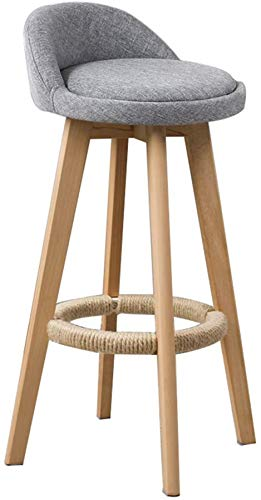 PIAOLING High Stools Barstools Furniture Gray Bar Stool Modern Style Bar Chair for Kitchen Breakfast Rotating Stool Wooden Legs (Sitting Height: 73CM) for Pub | Café