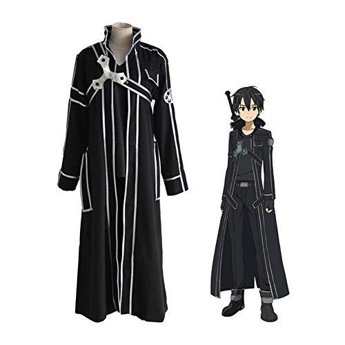 CGBF -Anime Sword Art Online Kazuto Kirigaya Battle Suit Cosplay Disfraz, Negro, XL