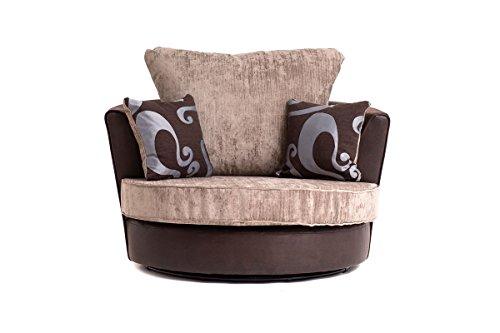 Abakus Direct NEW FARROW LEATHER & CHENILLE FABRIC CORNER SOFA IN BROWN & BEIGE (Swivel Chair)