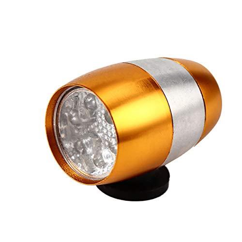 TriLance - Luz para bicicleta de montaña, aleación de aluminio, 6 luces LED de advertencia de seguridad, accesorios para ciclismo, senderismo, correr, camping (dorado)